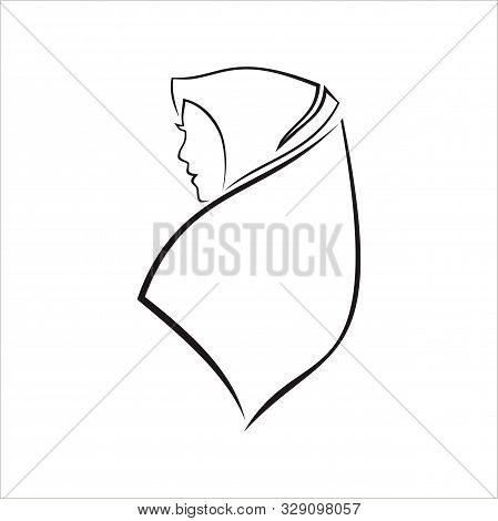 Female Character Wearing Veil Veil. Muslim Religion Adult Women With White Background