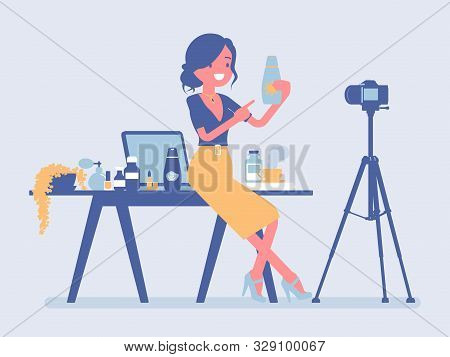 Beauty Blogger Streaming. Woman Reviewing Cosmetics Content For Personal Blog, Website, Talking Abou