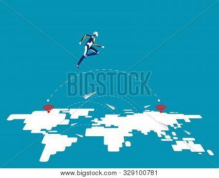 Great Robot Technology Leap Forward. Concept Business Vector Illustration, Innovation, Jump, Success