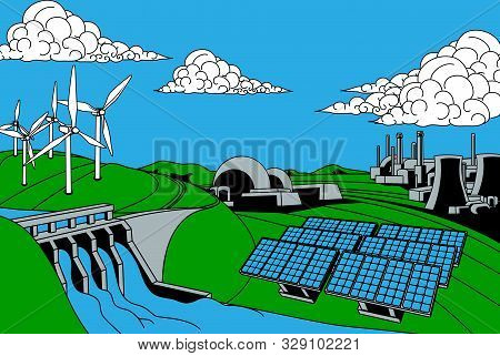 Power Or Energy Generation Sources. Includes Renewable Sources Such As Hydroelectric Dam, Solar And