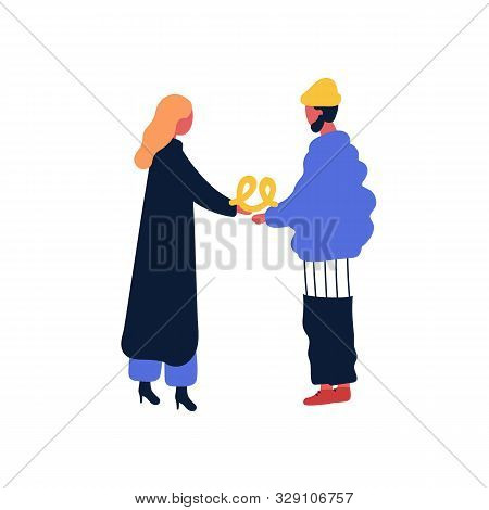 Woman Give Pretzel To Her Boyfriend Flat Vector Illustration. Friends Meeting, Standing Together. Tw