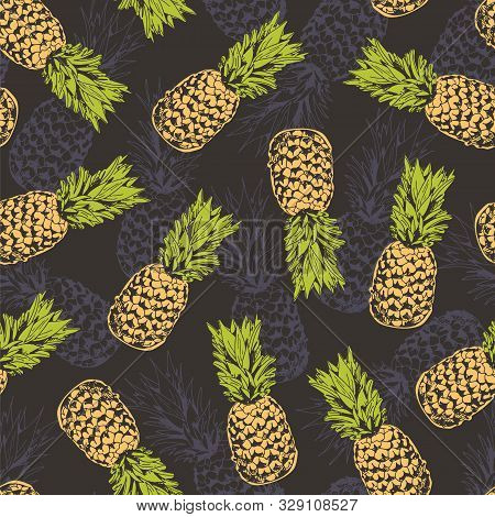 Pineapple Seamless Pattern, Vector Background With Pineapples For Hawaiian Shirt