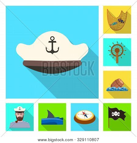 Vector Illustration Of Travel And Attributes Icon. Collection Of Travel And Seafaring Vector Icon Fo