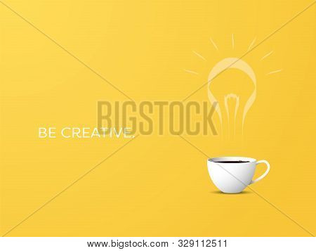 Creative Coffee Cup With Steam In Ligthbulb Shape Vector Concept. Inspiration, Creativity, Energy, N
