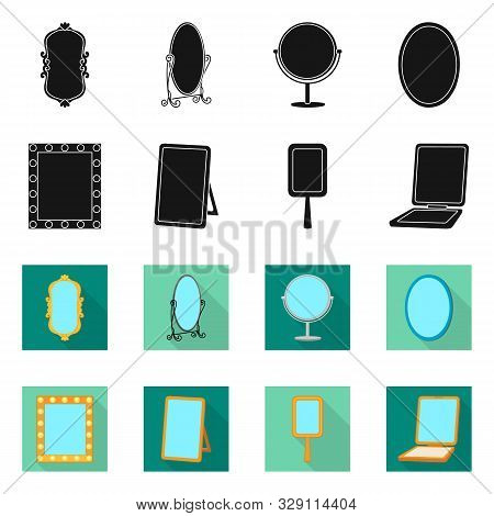 Vector Illustration Of Reflect And Piece Icon. Set Of Reflect And Furniture Vector Icon For Stock.