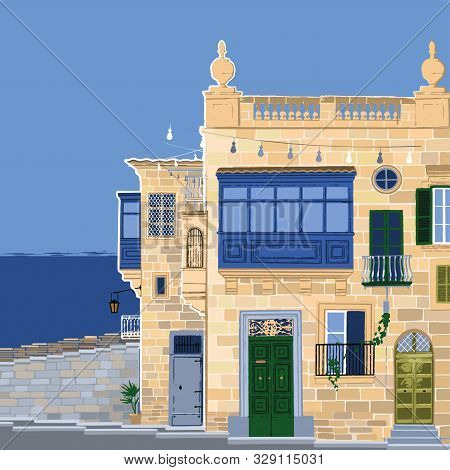 Traditional Maltese Valletta Houses Made Of Sandy Stone With A Sea On The Background.