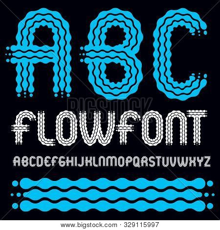 Set Of Trendy Pop Vector Capital English Alphabet Letters, Abc Isolated. Rounded Bold Font, Typescri