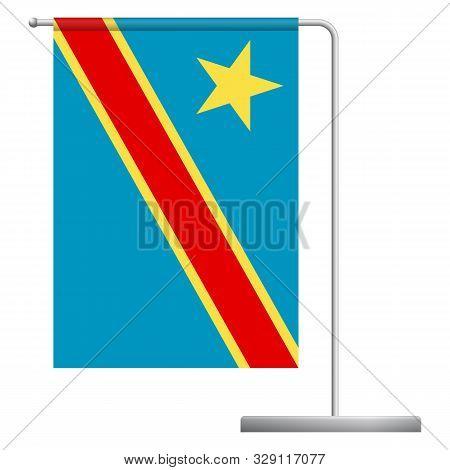 Democratic Republic Of The Congo Table Flag. Metal Flagpole. National Flag Of Democratic Republic Of