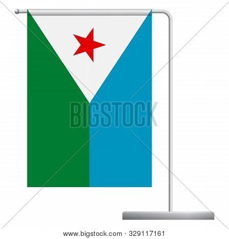 Djibouti Table Flag. Metal Flagpole. National Flag Of Djibouti Vector Illustration