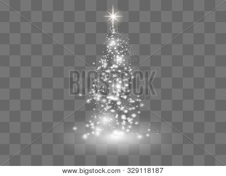 Illumination Lights Shiny Christmas Tree Isolated On Transparent Background. White Tree As Symbol Of