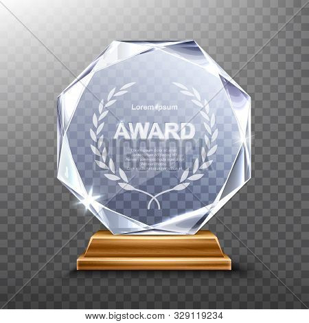 Glass Award Trophy Or Winner Prize Realistic Vector Illustration. Transparent Crystal Plate Or Acryl