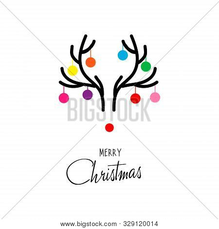 Antler Christmas Card Template Design. Christmas Deer Antlers. Postcard With A Horns Deer, Balls And