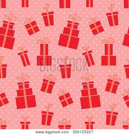 Presents. Seamless Vector Illustration With Gift Boxes And Bows
