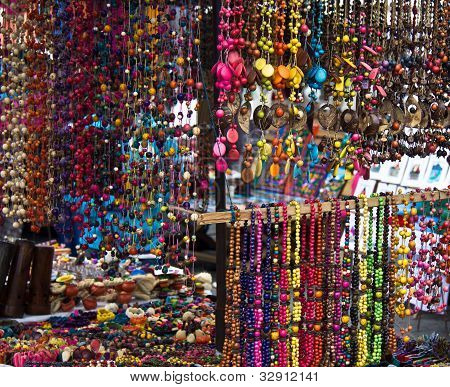 Multicolored Vibrant Beads Displayed In Outdoor Market