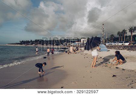 Jeju Island, South Korea, September 07, 2019: Typical Vacation Of  Korean People At Geumneung  Beach