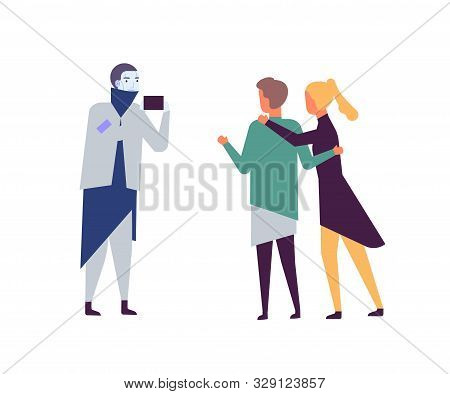 Robot Taking Photo Of Couple Flat Vector Illustration. Artificial Intelligence In Daily Life. Ai Fri