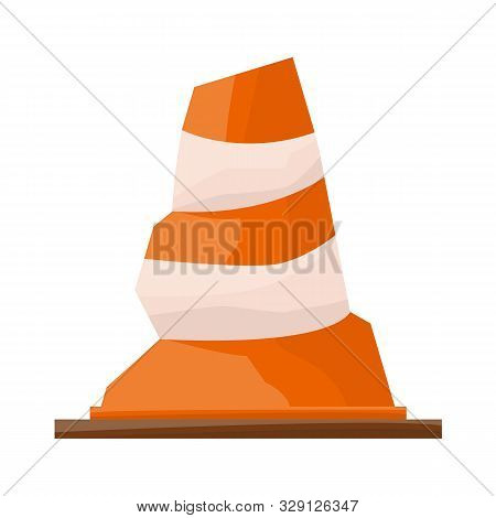 Isolated Object Of Road And Cone Symbol. Web Element Of Road And Rumpled Vector Icon For Stock.