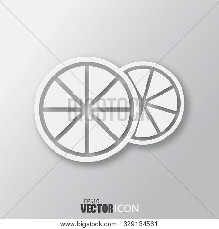 Orange Icon In White Style With Shadow Isolated On Grey Background.
