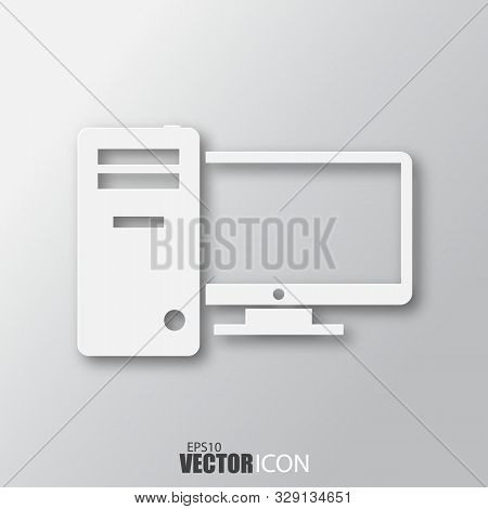 Computer Icon In White Style With Shadow Isolated On Grey Background.