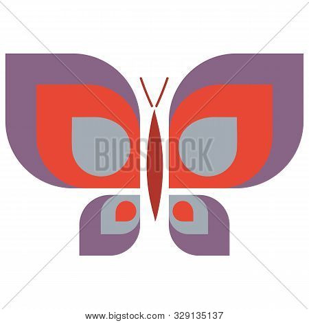 Vintage Geometric Butterfly Vector Illustration. Hand Drawn Garden Insect In Sixties Flat Color. Ret