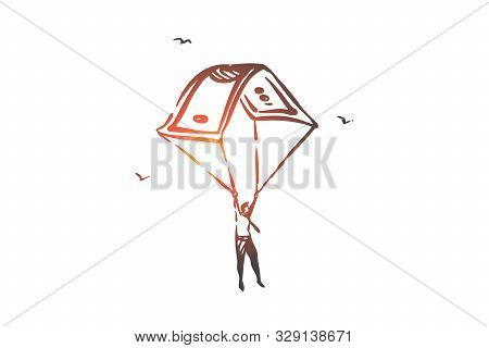 Business Investment, Life Insurance, Financial Literacy Concept Sketch. Businessman Character With B