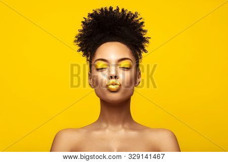 African American Fashion Model profile portrait . Brunette young woman with afro hair style,creative