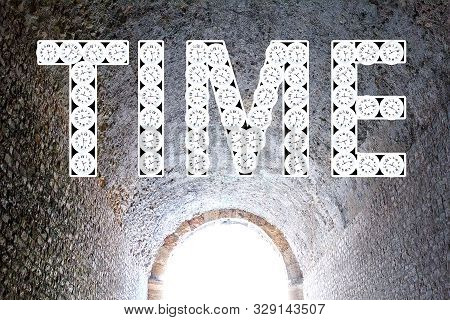 Time Tunnel. Time Passing. Time Travel Concept. Word Time Out Of Many Clock.