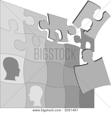 Puzzling People Faces Human Mental Jigsaws Puzzle.Eps