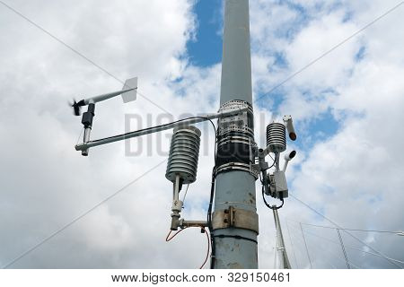 Weather And Wind Station On A Large Bridge For Control And Supervision Of Weather Ocnditions