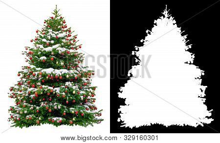 Christmas Snowy Tree Decorated With Red Balls Isolated On White Background. Black And White Mask Of