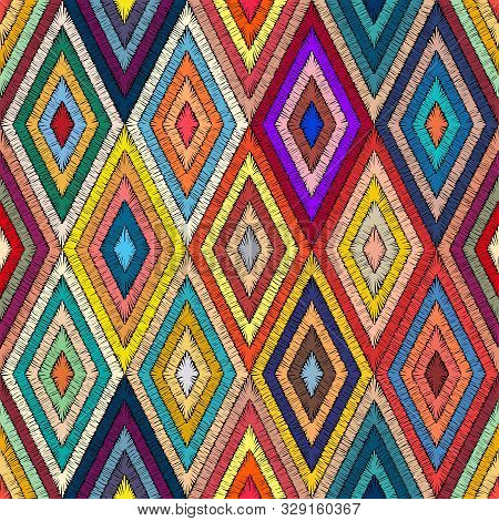 Embroidered Geometric Seamless Pattern. Handmade In Bohemian Style. Patchwork Hand-drawn Ornament. P