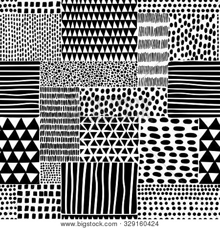 Black And White Seamless Doodle Pattern. Hand-drawn Ornament In Patchwork Style. Ethnic, Tribal And