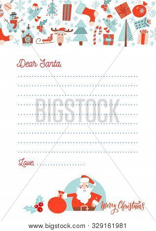 A4 Christmas Letter To Santa Claus Template. Decorated Paper Sheet With Santa Character Illustration