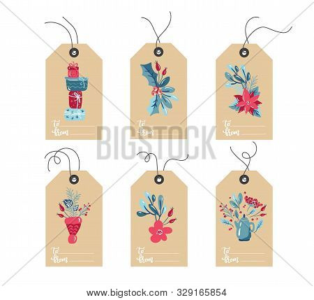 Set Of Hand Drawn Doodle Scandinavian Christmas Element Tags. Collection Merry Christmas Vector Gift