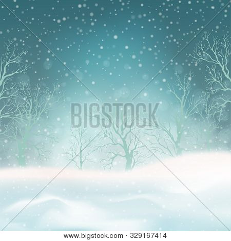 Winter Forest And Snow Drifts In A Frosty Haze. Vector Winter Snowy Landscape. Christmas Background