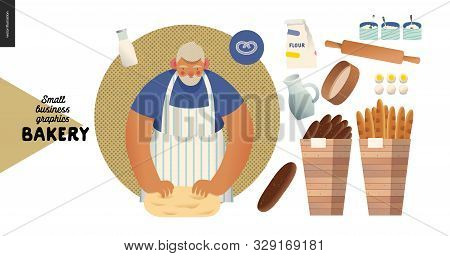 Bakery -small Business Illustrations -baker And Bread - Modern Flat Vector Concept Illustration Of A