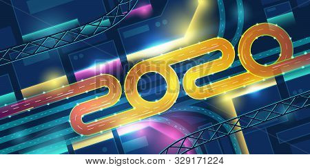 2020 Transport Interchange In Night Neon City Top View. New Year Banner With Urban Futuristic Archit