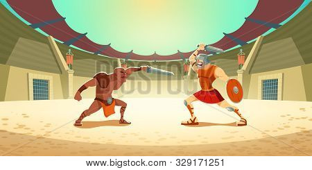 Gladiator Fighting With Barbarian On Coliseum Arena, Ancient Roman Armored Spartan Warrior And Dark-