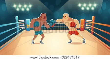 Boxers Fighting On Ring, Opponents In Blue And Red Shorts And Gloves Fight On Arena With Spotlights