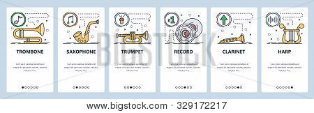 Mobile App Onboarding Screens. Musical Instruments, Trombone, Saxophone, Clarinet, Harp, Vinyl Recor