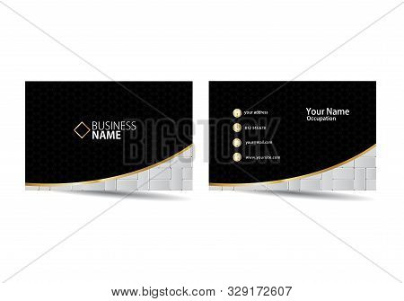 Business Card With Paving Blocks. Paving Block Visiting Card Template