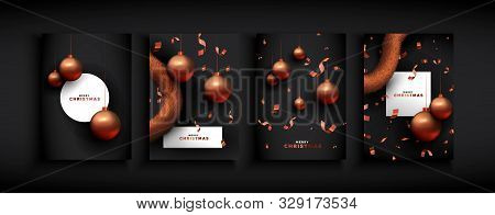 Merry Christmas Set Of Luxury Copper Holiday Ornaments And Party Confetti For Elegant Xmas Invitatio
