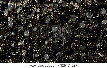 An Array Of Reflective Black Casino Dice With Gold Markings Floating In The Air On A Dark Classy Bac