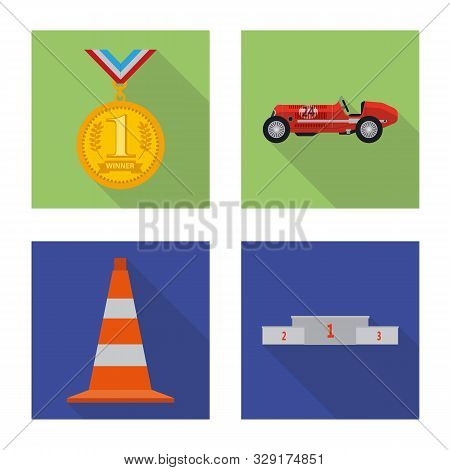 Vector Design Of Car And Rally Symbol. Collection Of Car And Race Stock Symbol For Web.