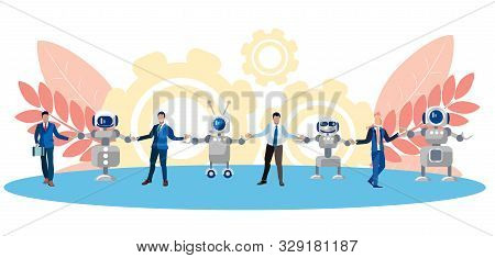 Metaphor Of Friendship, Cooperation Of People And Technology. Chain Of Human And Robots. In Minimali