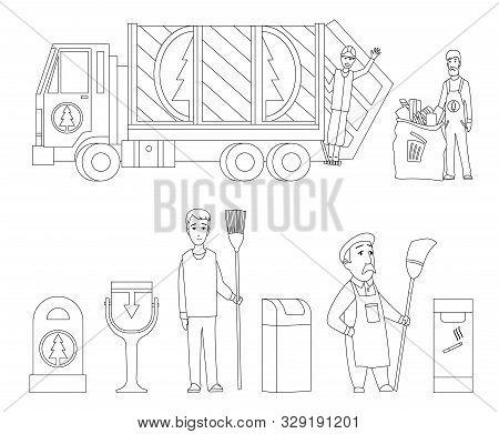 Garbage Collection Coloring Book Page. Garbage Truck, Garbage Man In Uniform Waste Bag Recycle Bin.