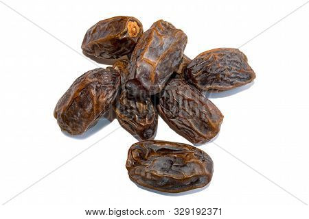 Dates. Fresh Arabic Dates Isolated On White Background. Date Palm Fruit. Pile Of Dates. Top View.