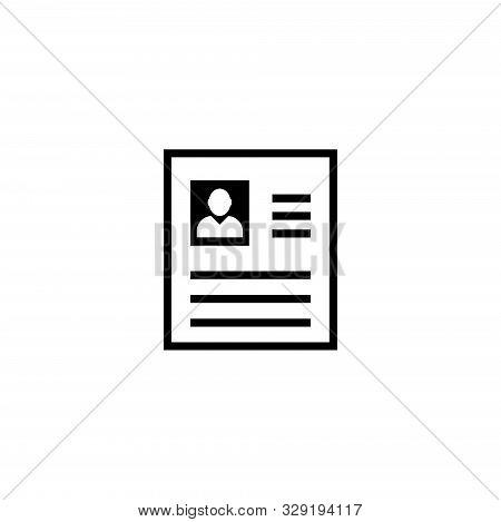 Cv, Job Resume, Curriculum Vitae. Flat Vector Icon Illustration. Simple Black Symbol On White Backgr