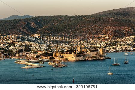 Panoramic Sunset View Of Bodrum Castle And Marina Bay On Turkish Riviera. Bodrum Is A   District And