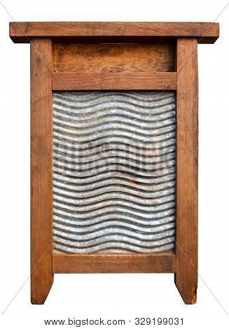 Very Old Washboard Isolated On White Background